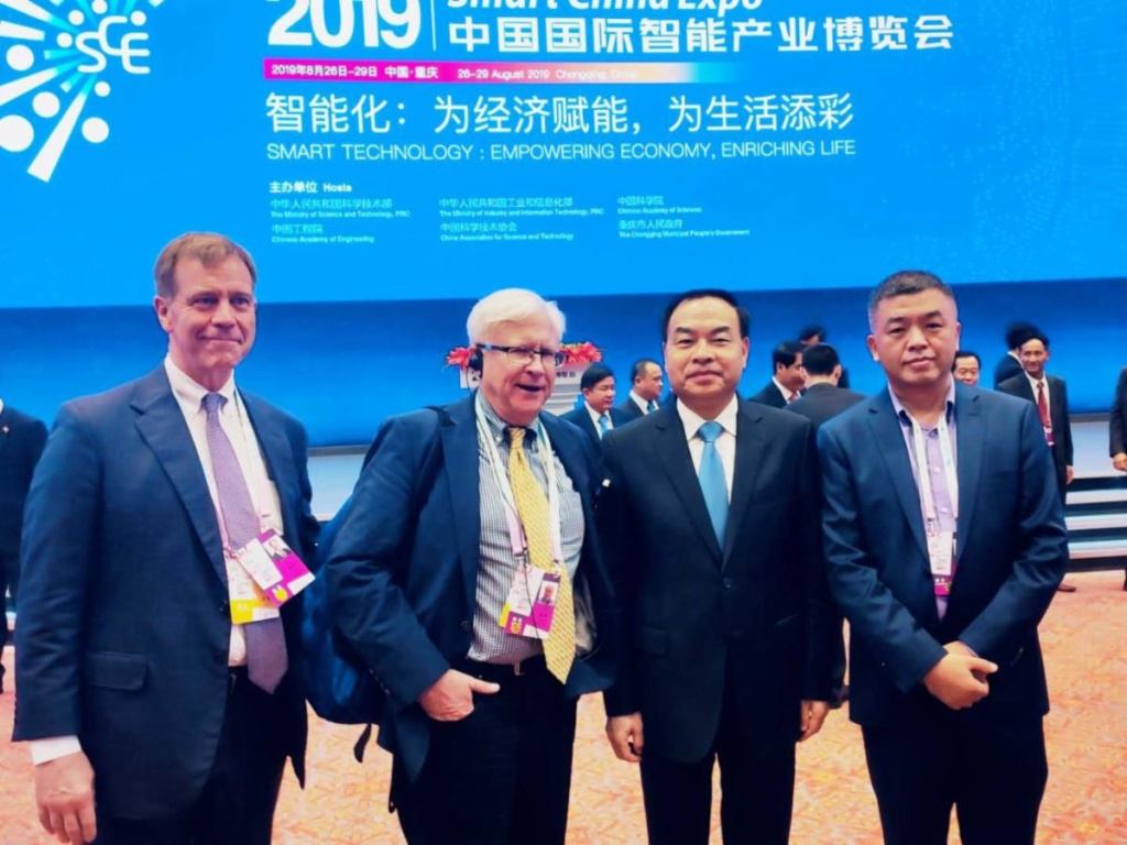 Chongqing Mayor Tang Liangzhi (2nd from right) met with Cincinnati delegation at the Smart China Expo in 2019.